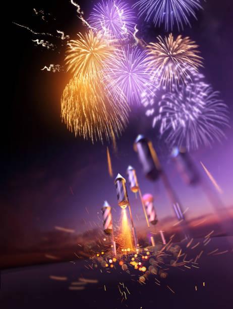 firework celebrations lighting up the night sky - happy 4th of july zdjęcia i obrazy z banku zdjęć