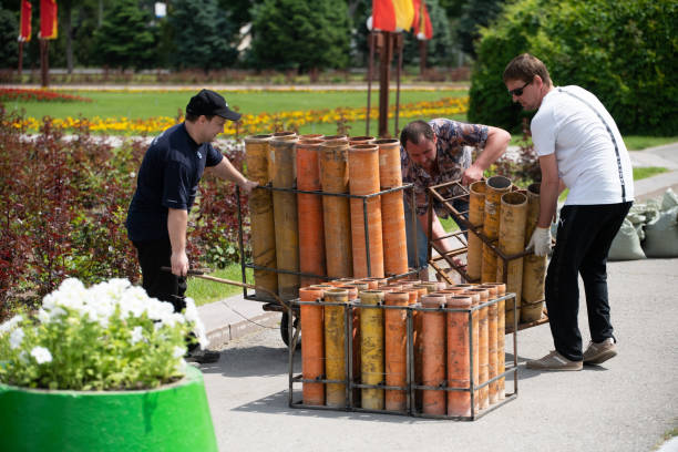 (Editorial) Firework charge preparation stock photo