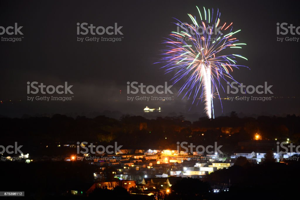 Firework Display at Bembridge - Isle of Wight stock photo