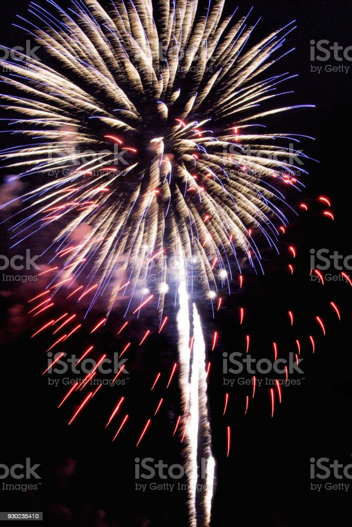 Firework Display Exploding Blurred Motion stock photo