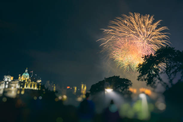 Firework Display in Edinburgh Scotland stock photo