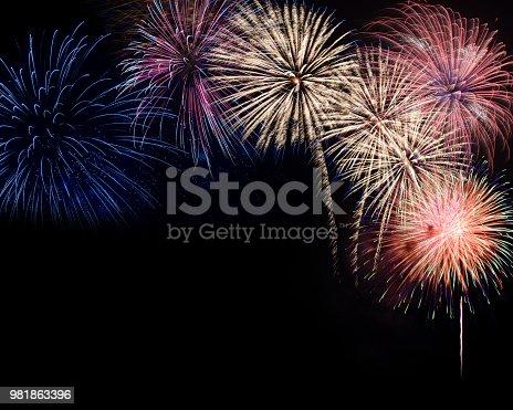 istock firework display on black background 981863396