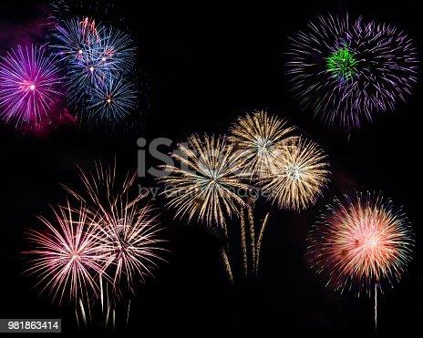 istock firework display on black background 981863414