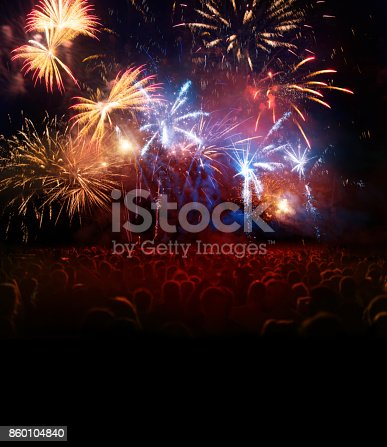 istock Firework Display With Celebrating People 860104840