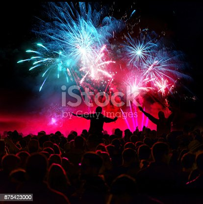 istock Firework Display With Celebrating People 875423000