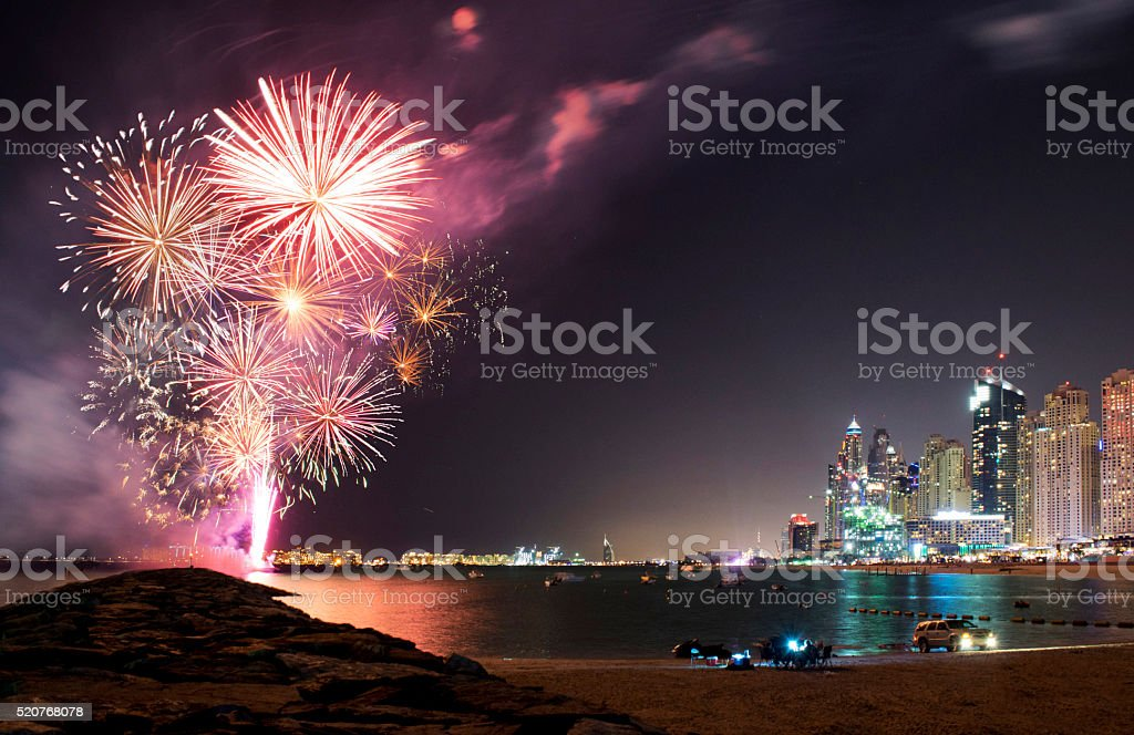 Firework Dubai Marina from New year 2016 stock photo