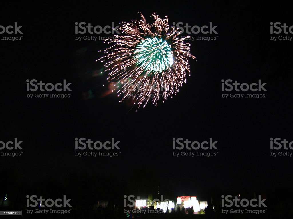 firework explosion over crowd royalty-free stock photo