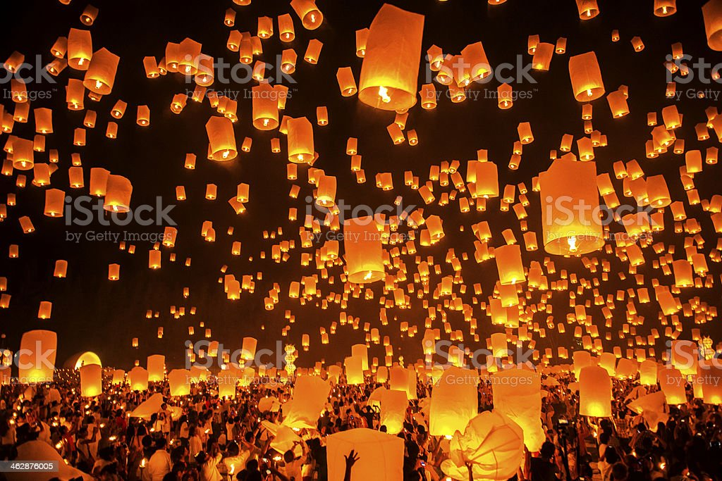 Firework Festival in Chiang Mai Thailand stock photo