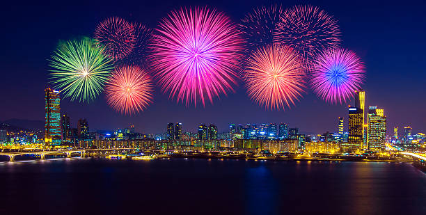 花火まつりにて韓国ます。 - 釜山 ストックフォトと画像