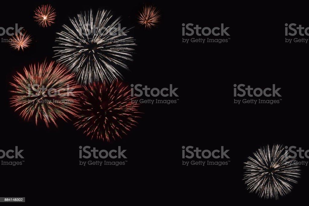 Firework flowers on a dark background. stock photo