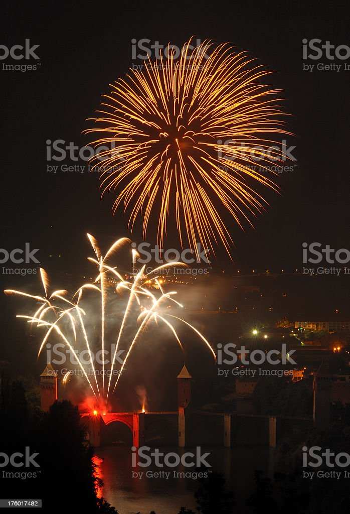 firework in Cahors, France stock photo