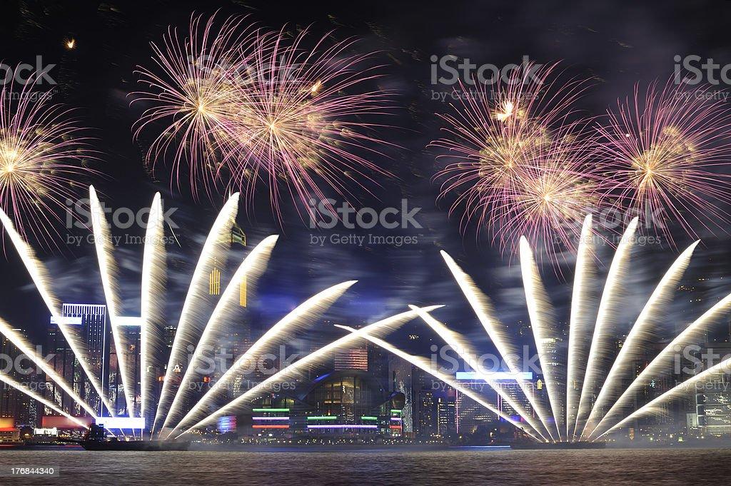 Firework in HongKong 2011 royalty-free stock photo