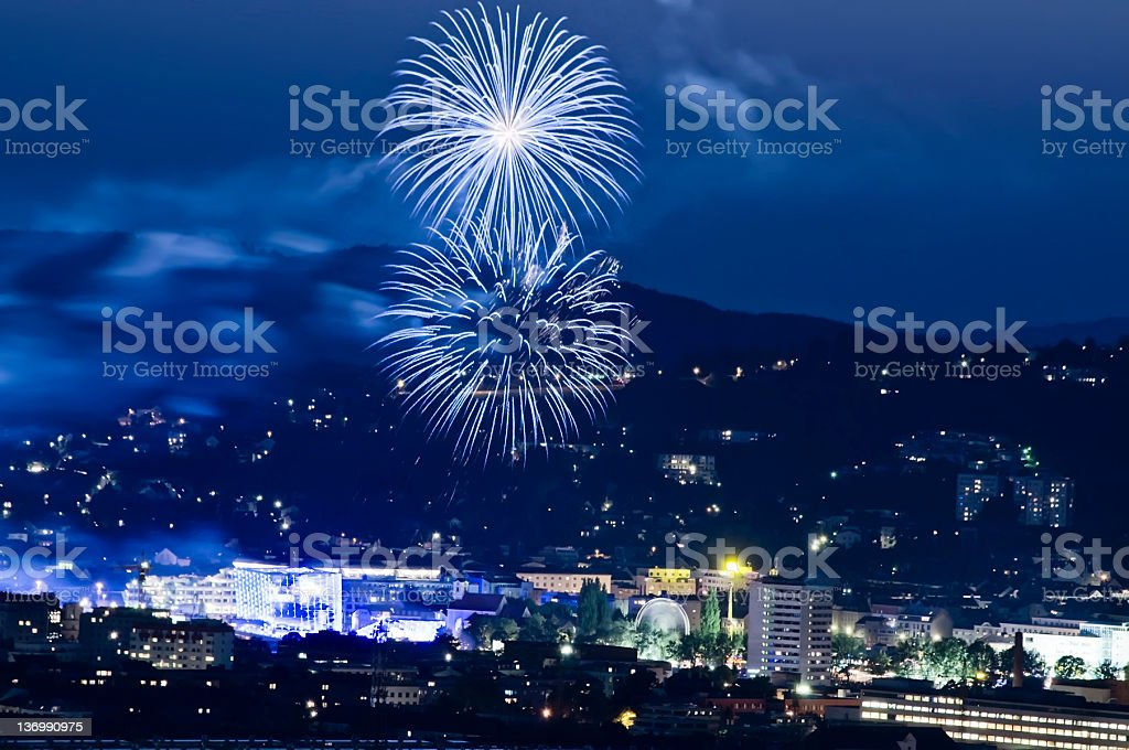 Firework in the Blue Hour stock photo