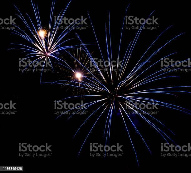 Firework lights in the dark sky