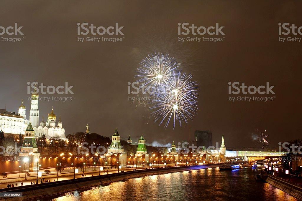 Firework near the Kremlin 2 royalty-free stock photo