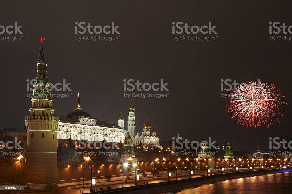 Firework near the Kremlin #3 royalty-free stock photo