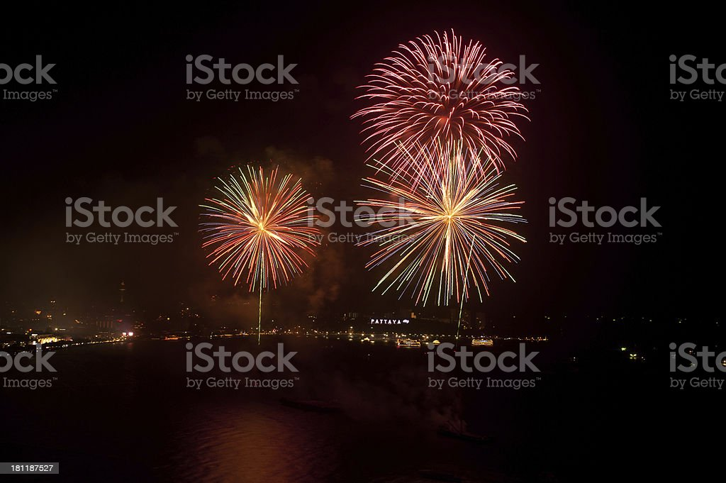 Firework on beach. stock photo