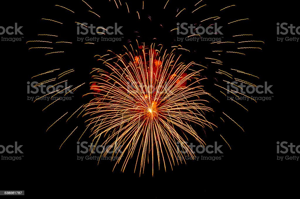 Firework on black sky stock photo