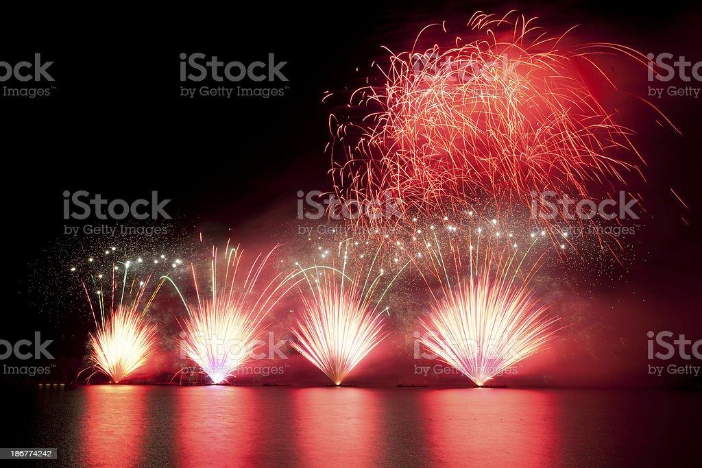 firework over lake royalty-free stock photo
