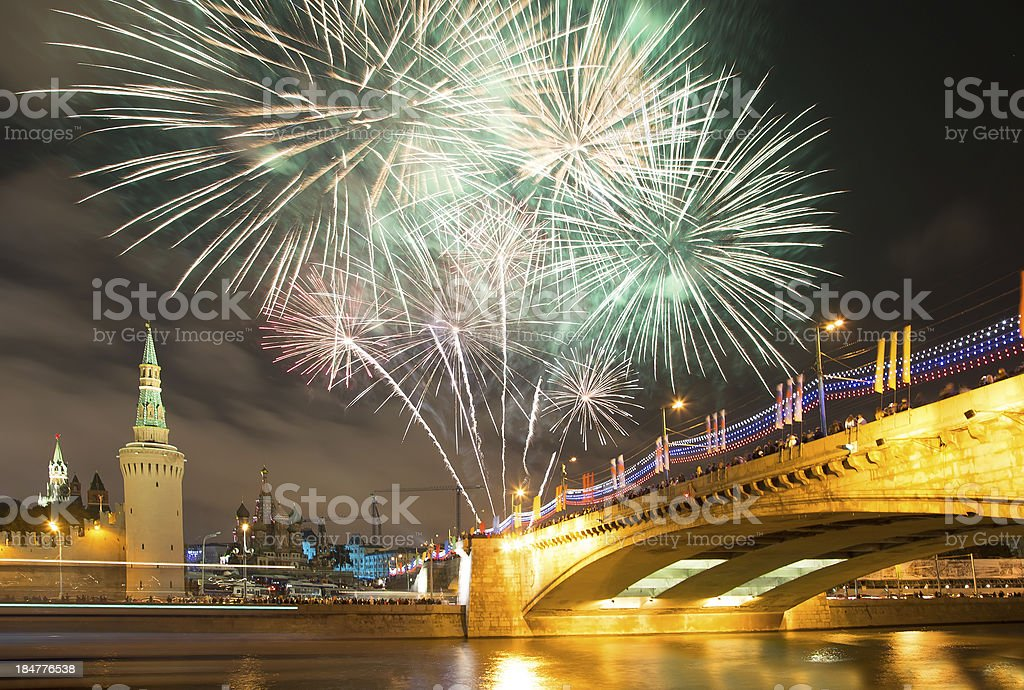 Firework over Moscow. Russia royalty-free stock photo