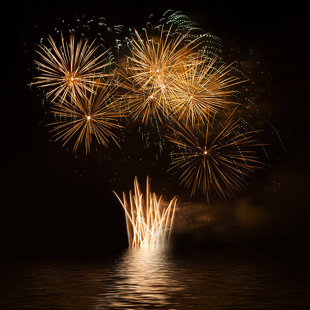 Firework over the water stock photo