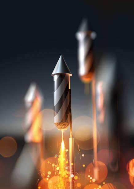 firework rocket close up launching - fourth of july стоковые фото и изображения