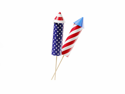 Red blue and white striped firework rocket pair isolated on white background. Horizontal composition with copy space. Clipping path is included.