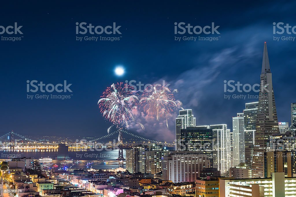 Firework San Francisco stock photo