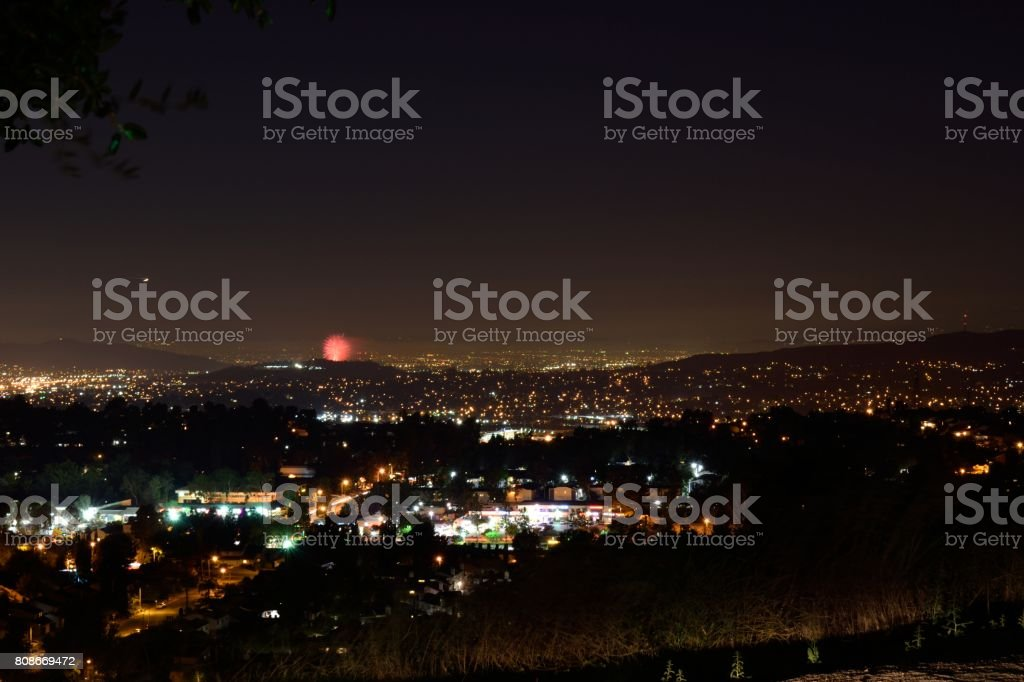A Firework Show in the Distance stock photo