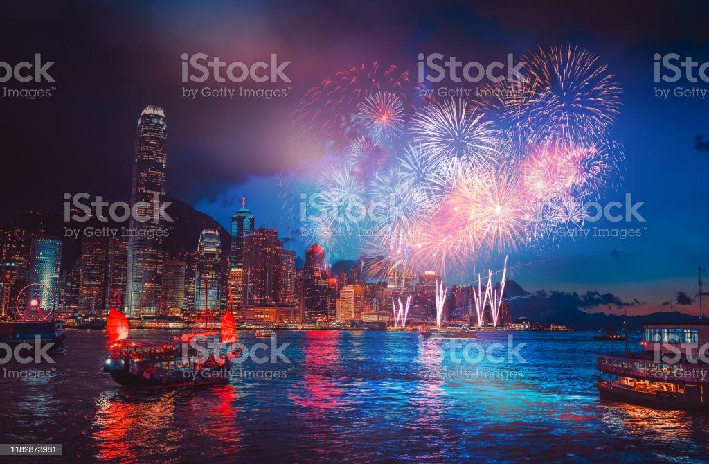 Firework show on Victoria Harbor, Hong Kong Firework show on Victoria Harbor, Hong Kong Above Stock Photo