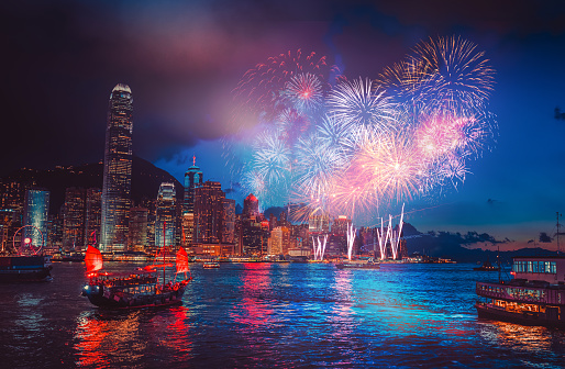 Firework Show On Victoria Harbor Hong Kong Stock Photo - Download Image Now