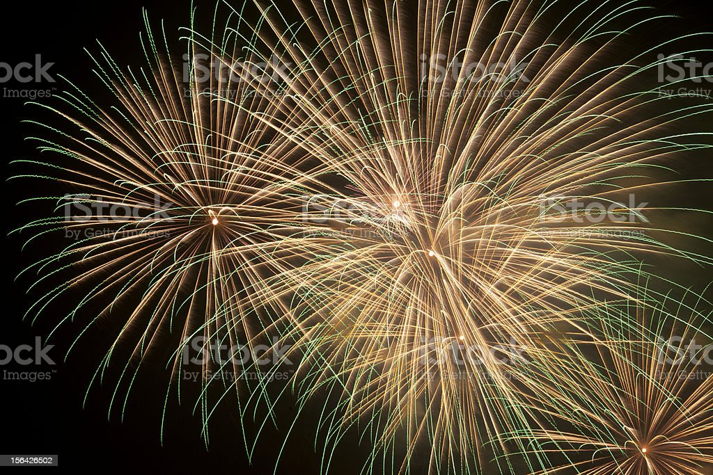 Firework streaks in the night sky royalty-free stock photo