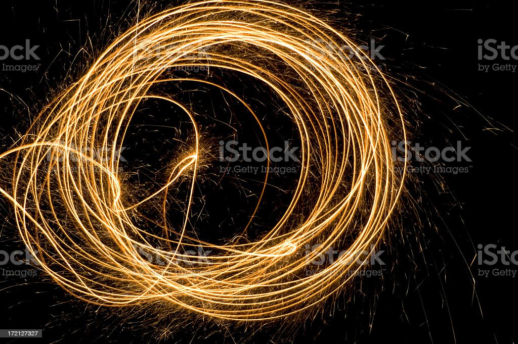 Firework traces and sparks stock photo