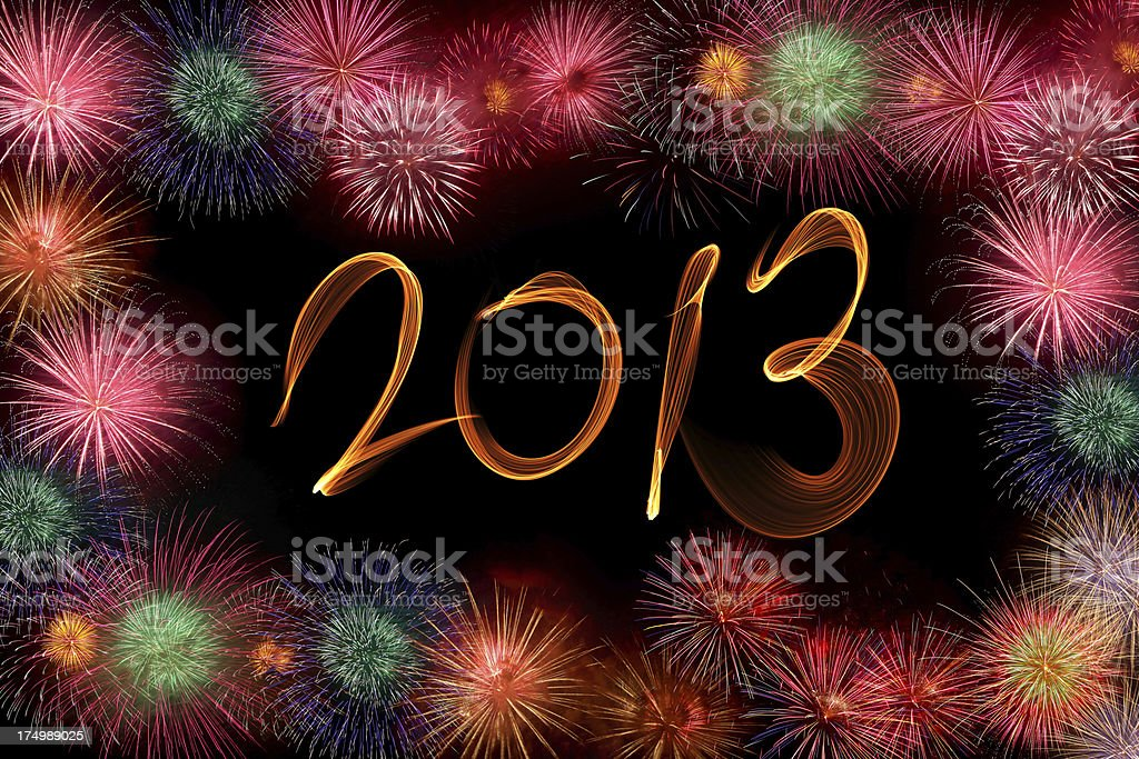 Fireworks 2013 New Year royalty-free stock photo