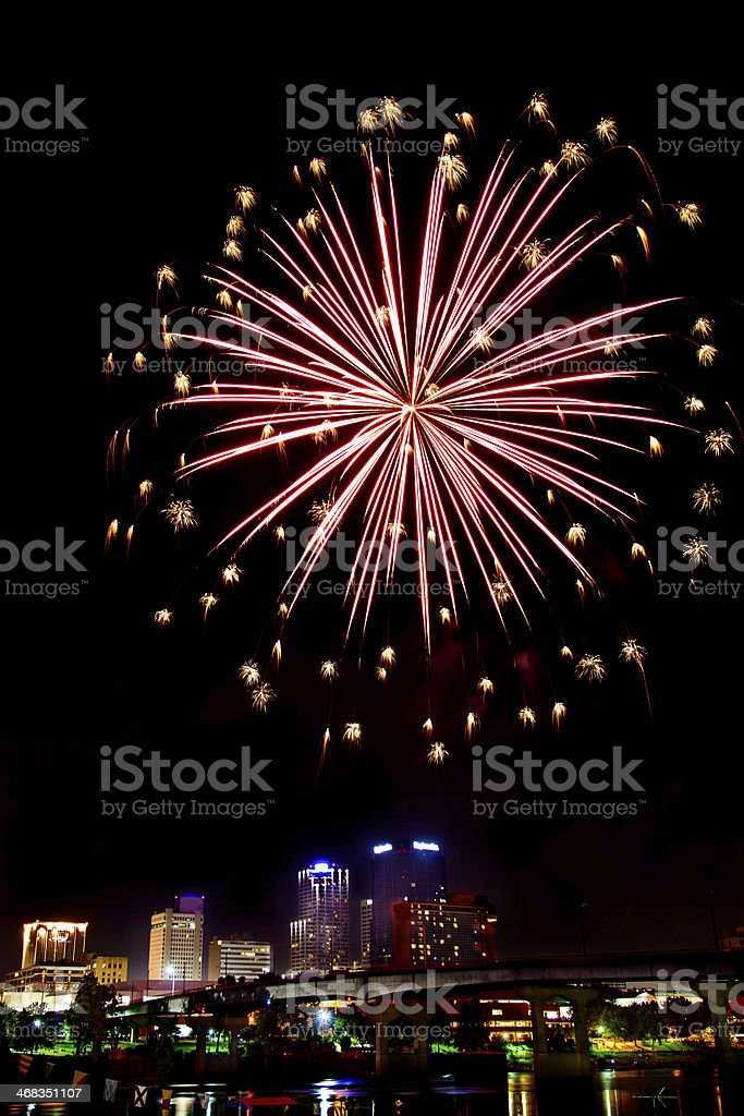 Fireworks above city at night royalty-free stock photo