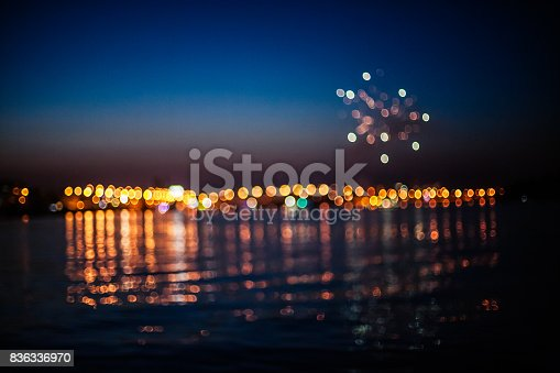 istock Fireworks above sea 836336970