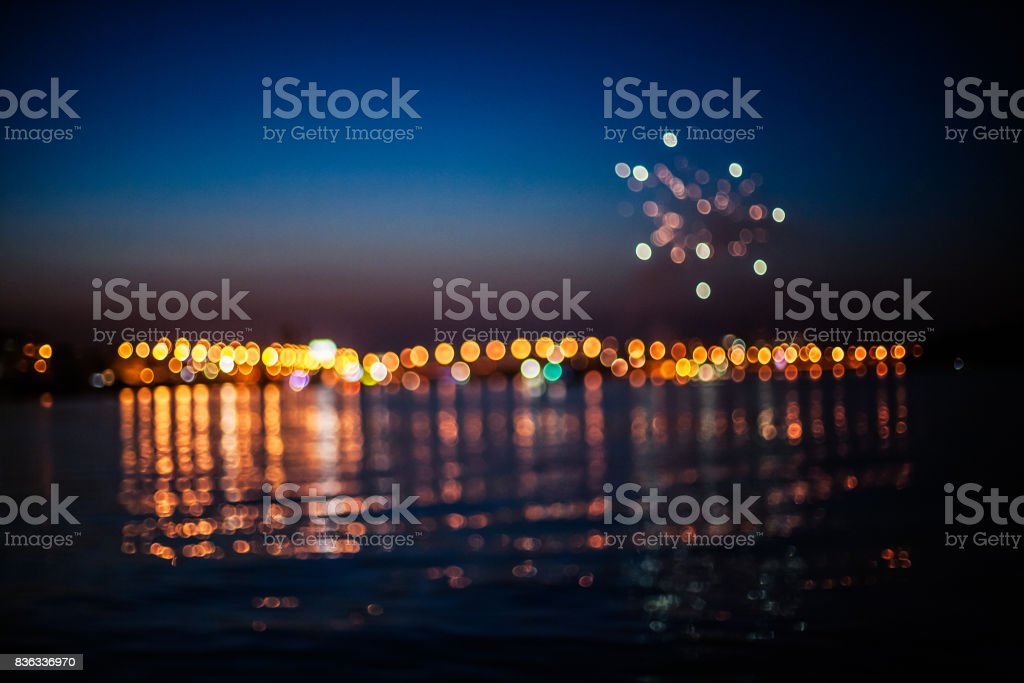 Fireworks above sea stock photo