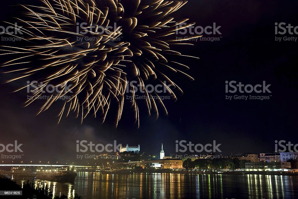 fireworks above the Danube river royalty-free stock photo