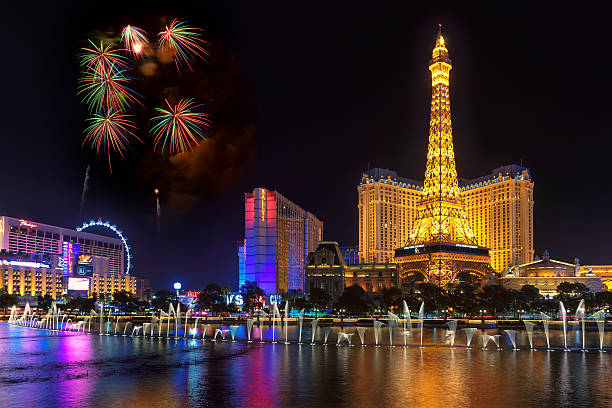 Fireworks and Bellagio fountains show in Las Vegas stock photo
