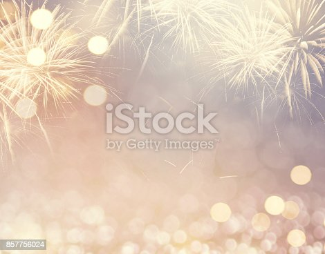 istock Fireworks and bokeh in New Year eve and space for text. Abstract background holiday. 857756024