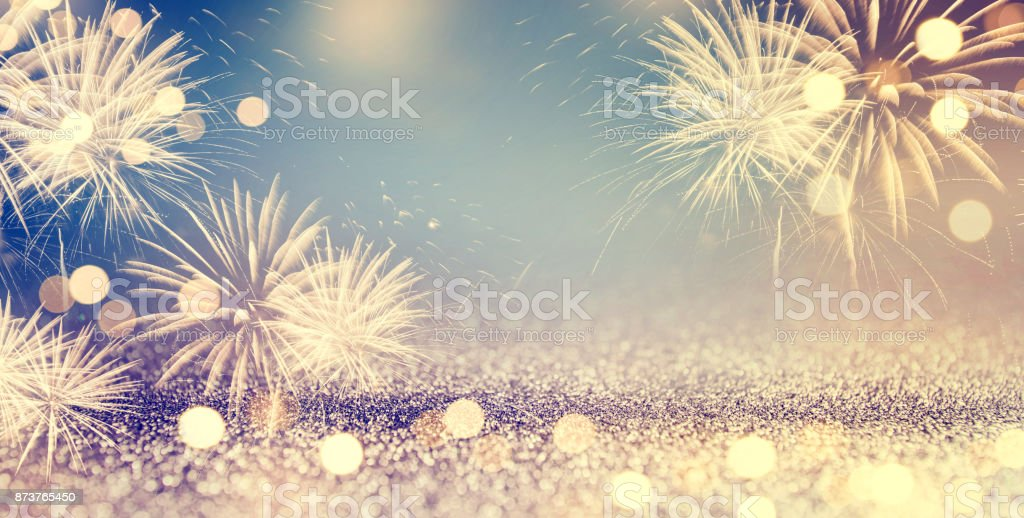 Fireworks and bokeh in New Year eve and space for text. Abstract background holiday. stock photo
