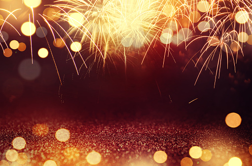 Fireworks And Bokeh In New Year Eve And Space For Text Abstract Background Holiday Stock Photo - Download Image Now