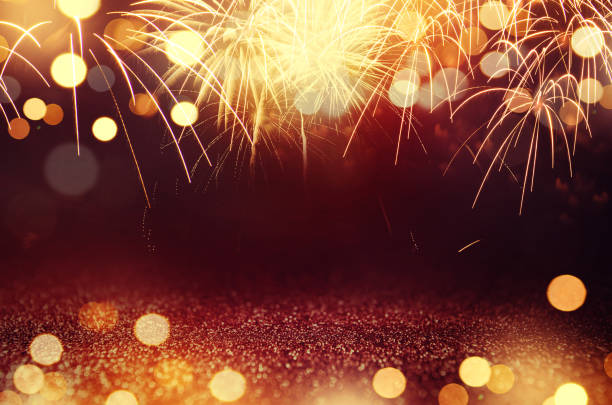fireworks and bokeh in new year eve and space for text. abstract background holiday. - fireworks stock pictures, royalty-free photos & images