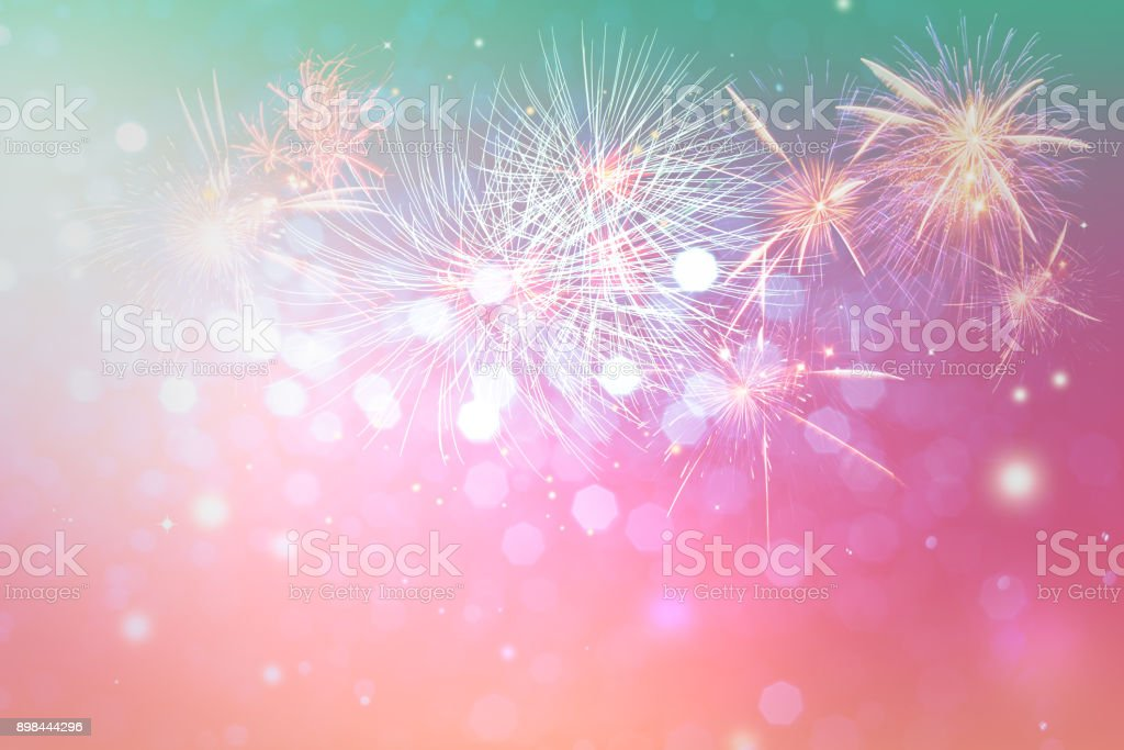 Fireworks and bokeh light for copyspace and background stock photo