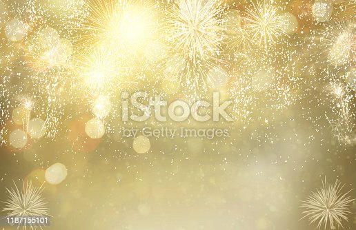 Abstract festive winter bokeh background with fireworks and bokeh lights