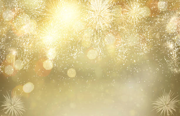 Fireworks and bokeh lights concept Abstract festive winter bokeh background with fireworks and bokeh lights anniversary stock pictures, royalty-free photos & images