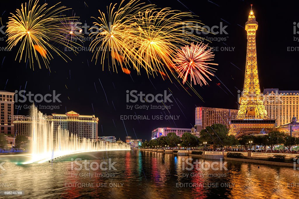 Fireworks and fountains show on Independence Day in Las Vegas stock photo