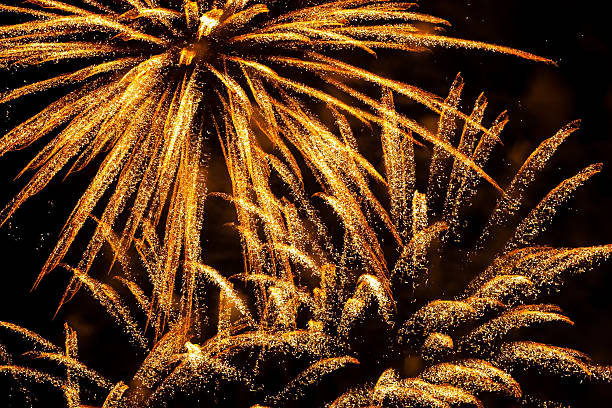 Fireworks And Gold Dust In The Skies - Pyrotechnic Display Over Dubai Skies To Celebrate The New Year stock photo