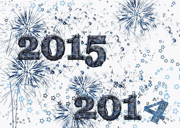 Fireworks and stars Happy New Year 2015 stock photo
