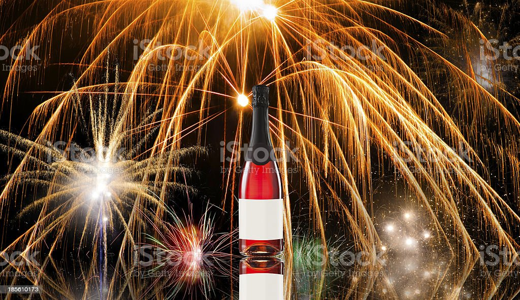 Fireworks and wine bottle royalty-free stock photo